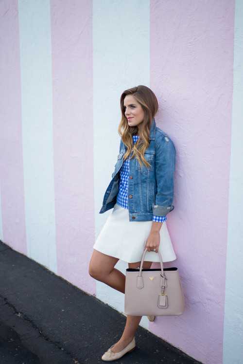 diane von furstenberg gingham top and jean jacket