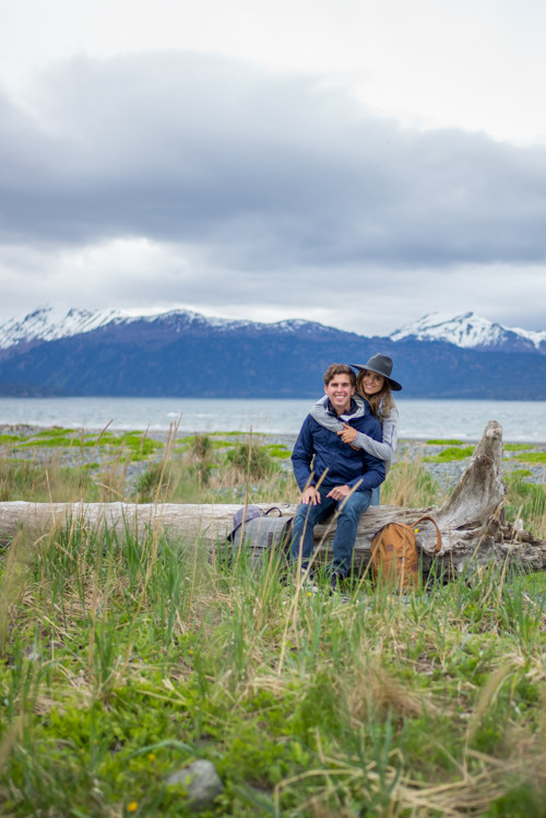 Homer Alaska Beach Log Couple Photoshoot Idea