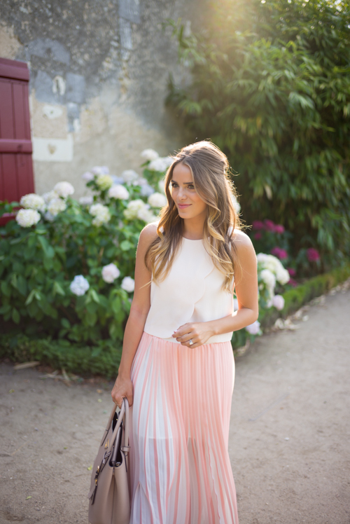 White Crop Top and Pink Maxi Skirt