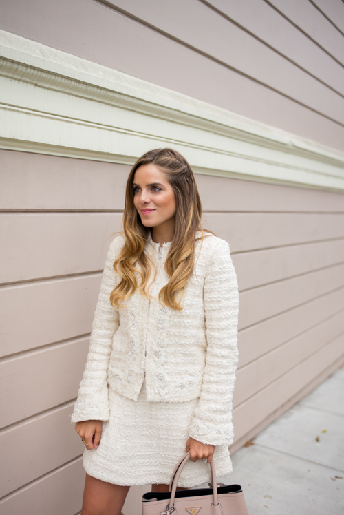Pink & white tweed outfit