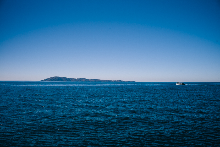 Boat on Lake Titicaca view of Taquile Island
