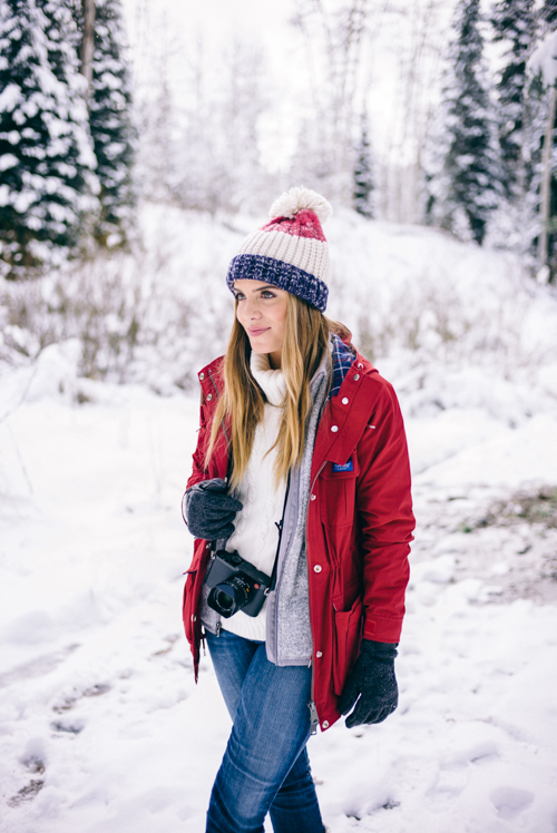 Gal Meets Glam Red Penfield Jacket Winter Outfit
