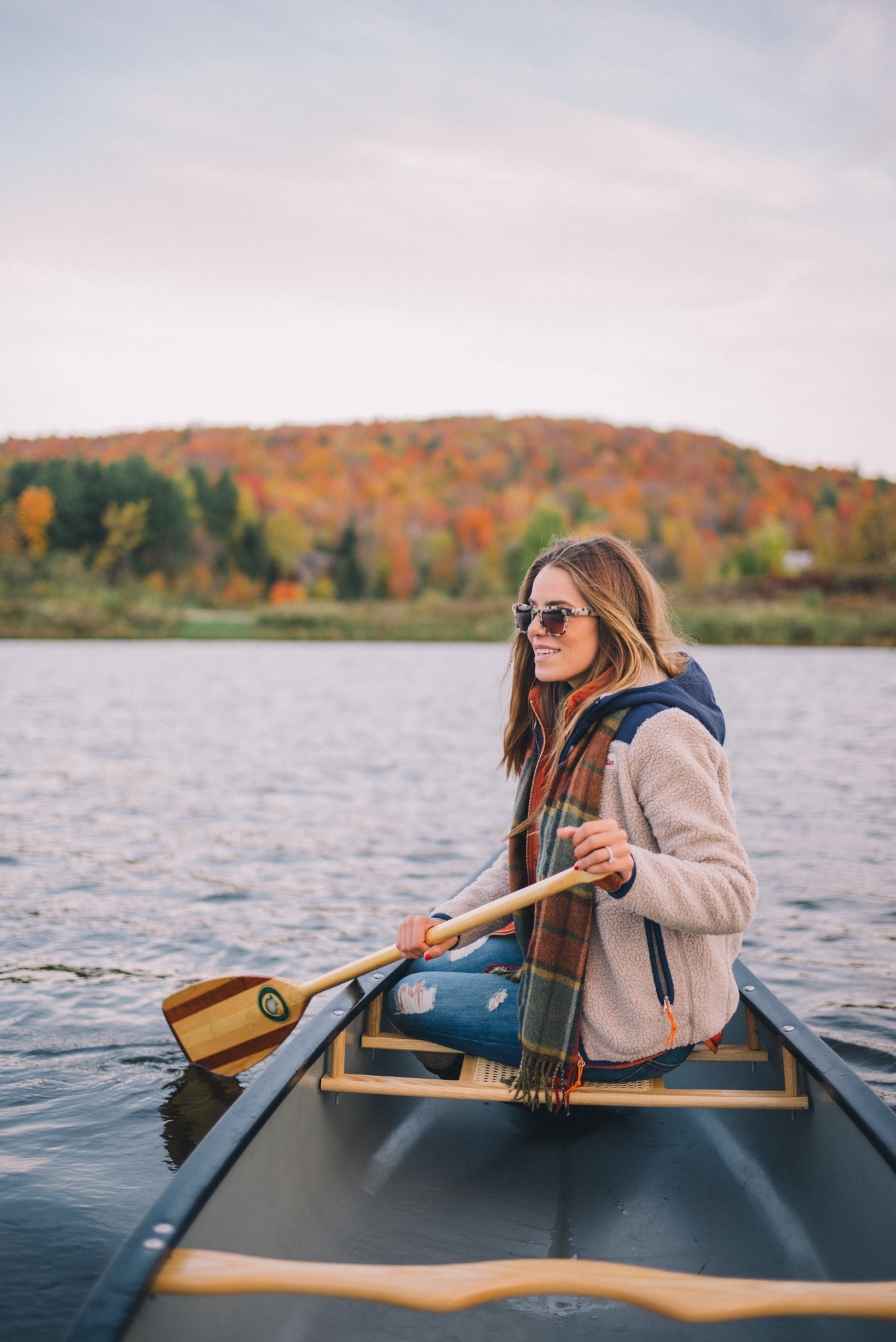 Gal Meets Glam Morning Canoe in New England Fall Leaves