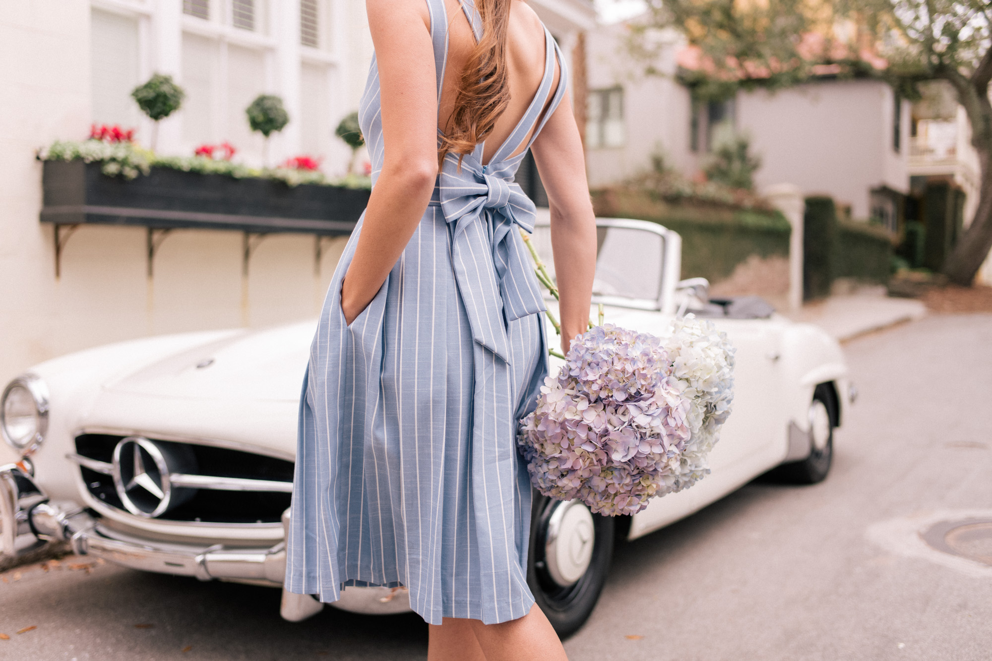 Gal Meets Glam Collection Bow Back Samantha Dress in Blue and White Stripe
