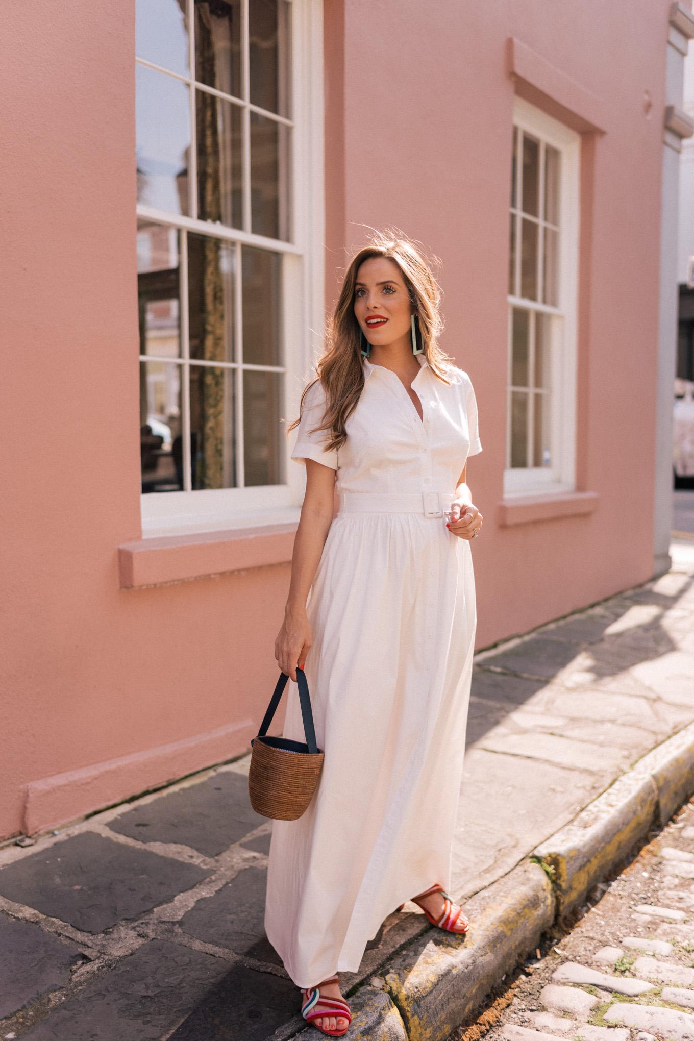 A Classic White Cotton Maxi Shirtdress - Julia Berolzheimer