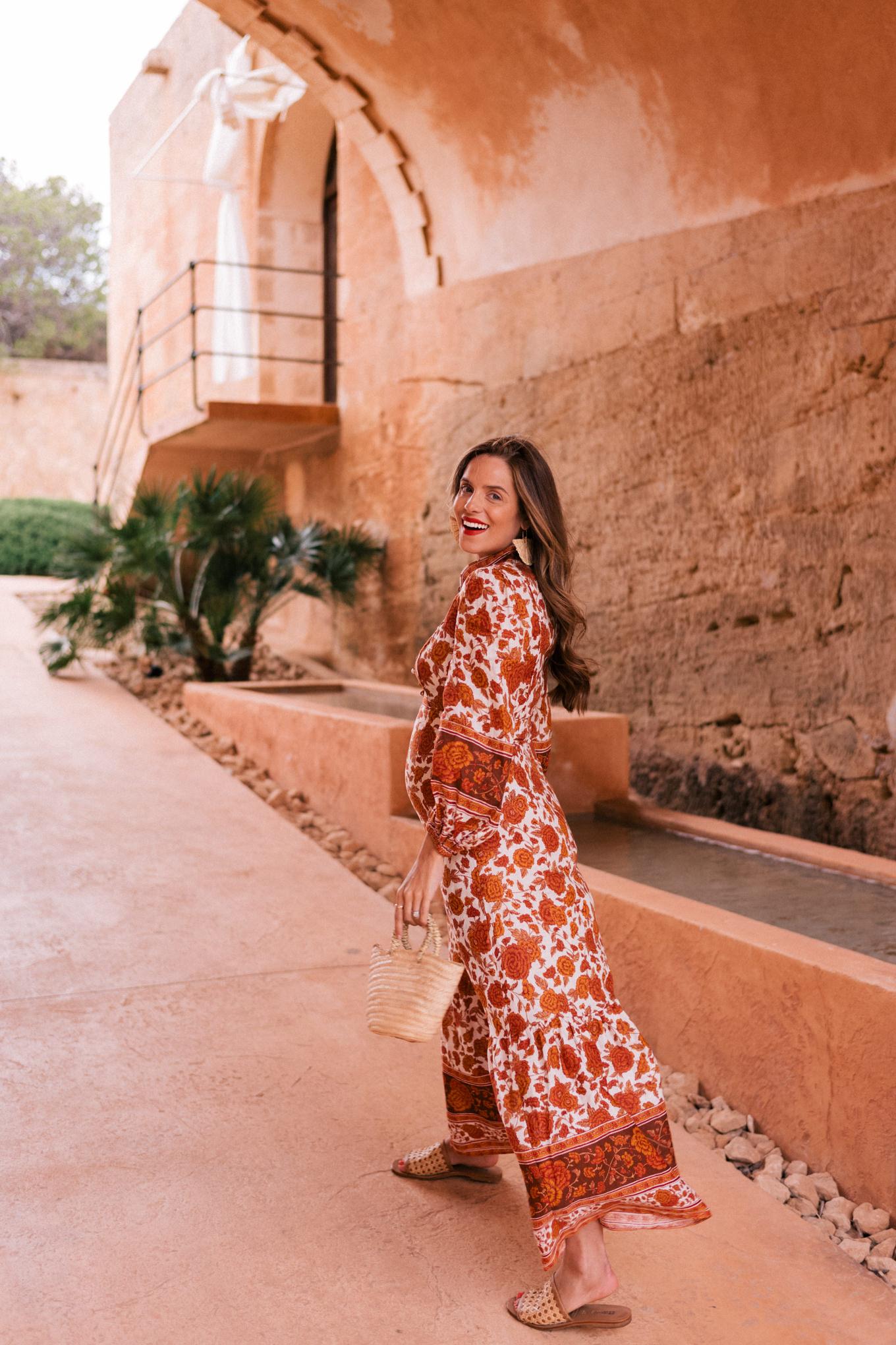 orange white dress mallorca spain
