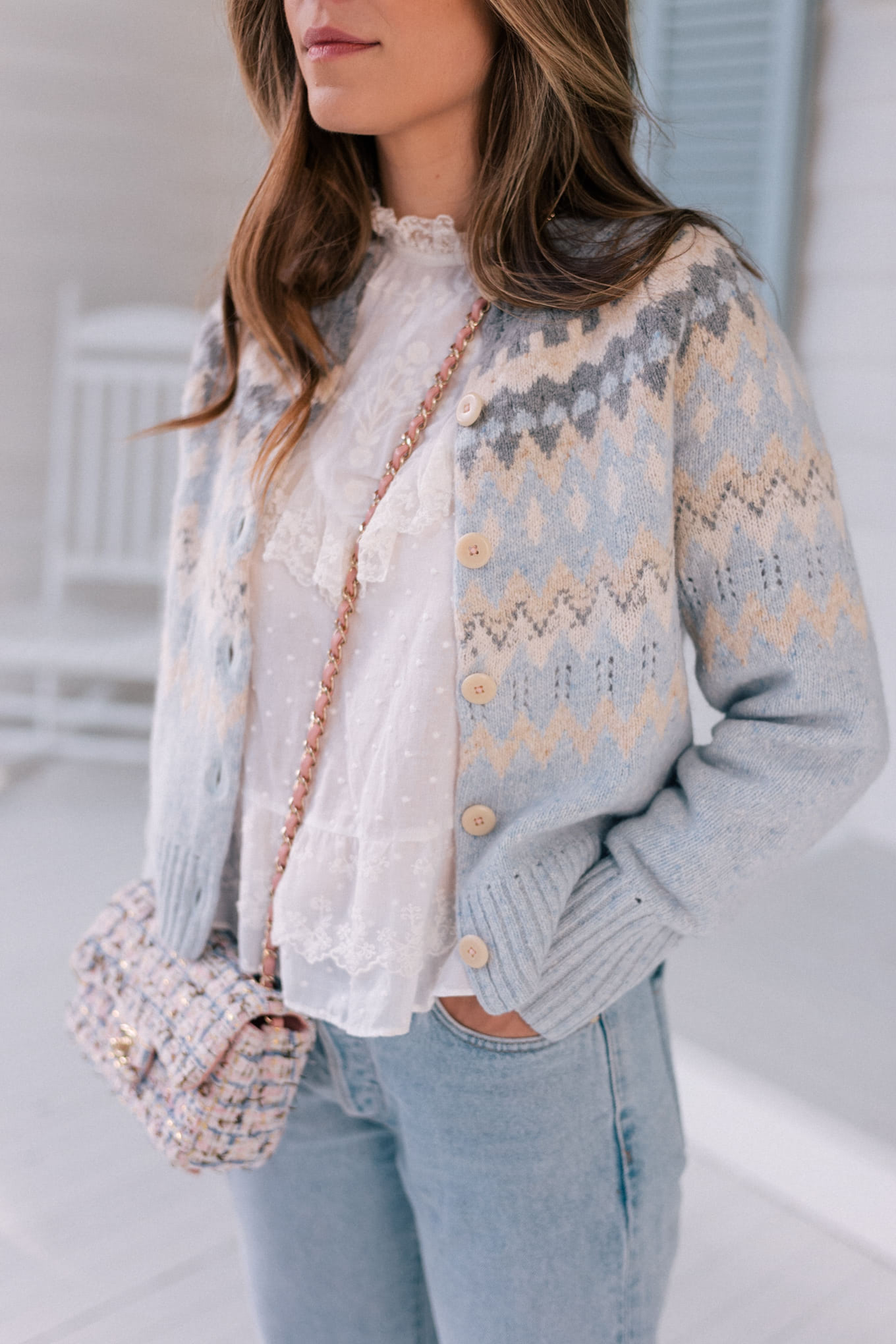 blue casual cardigan sweater winter