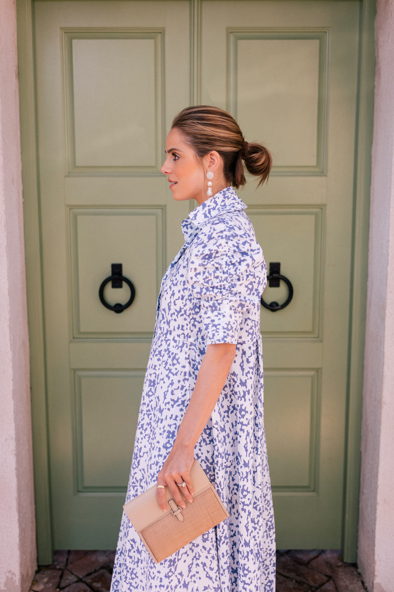 blue white shirtdress