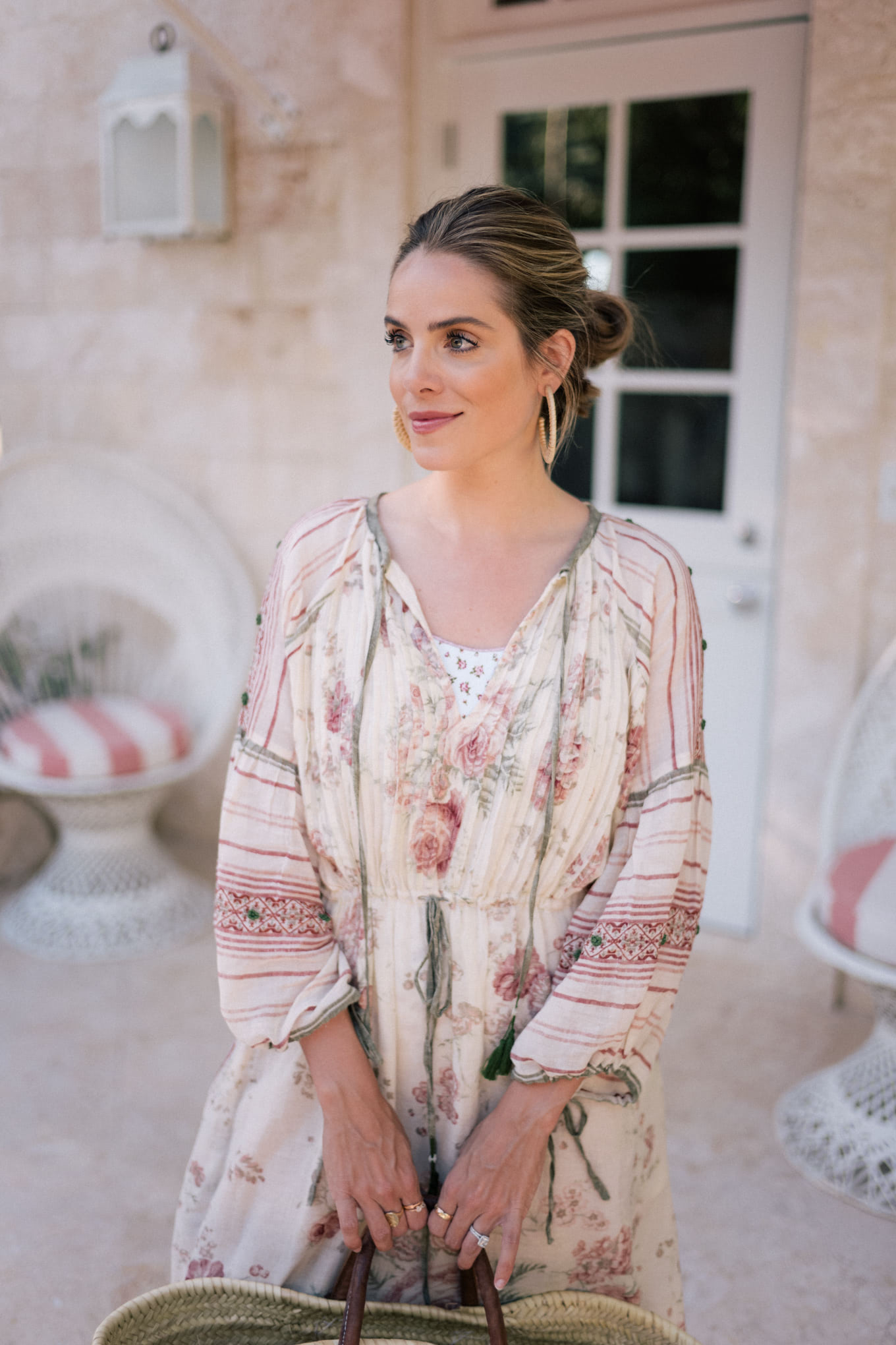 embroidered pink green white dress