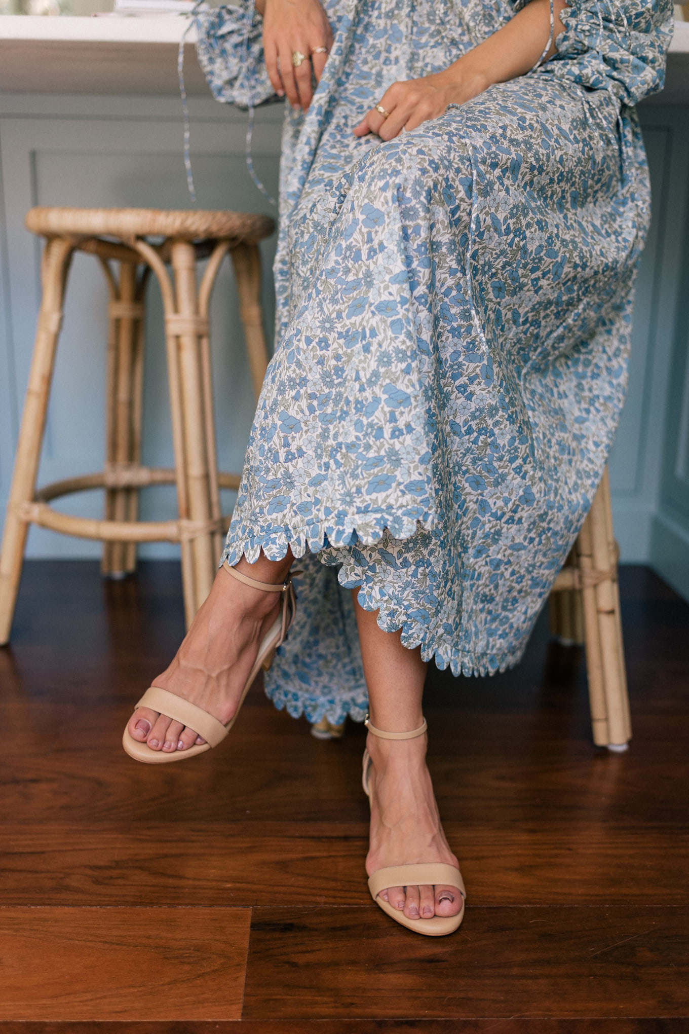 nude strappy sandals blue dress