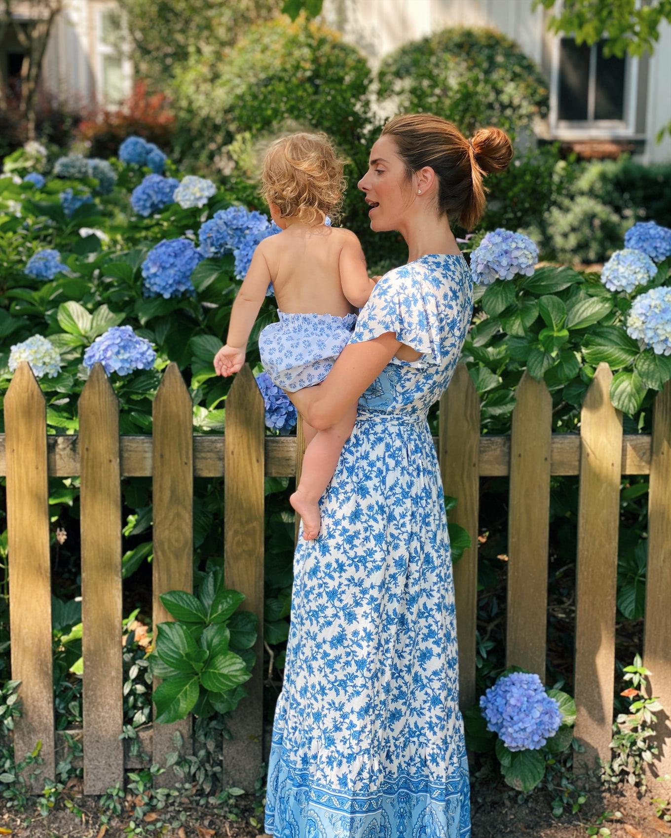 blue white wrap dress