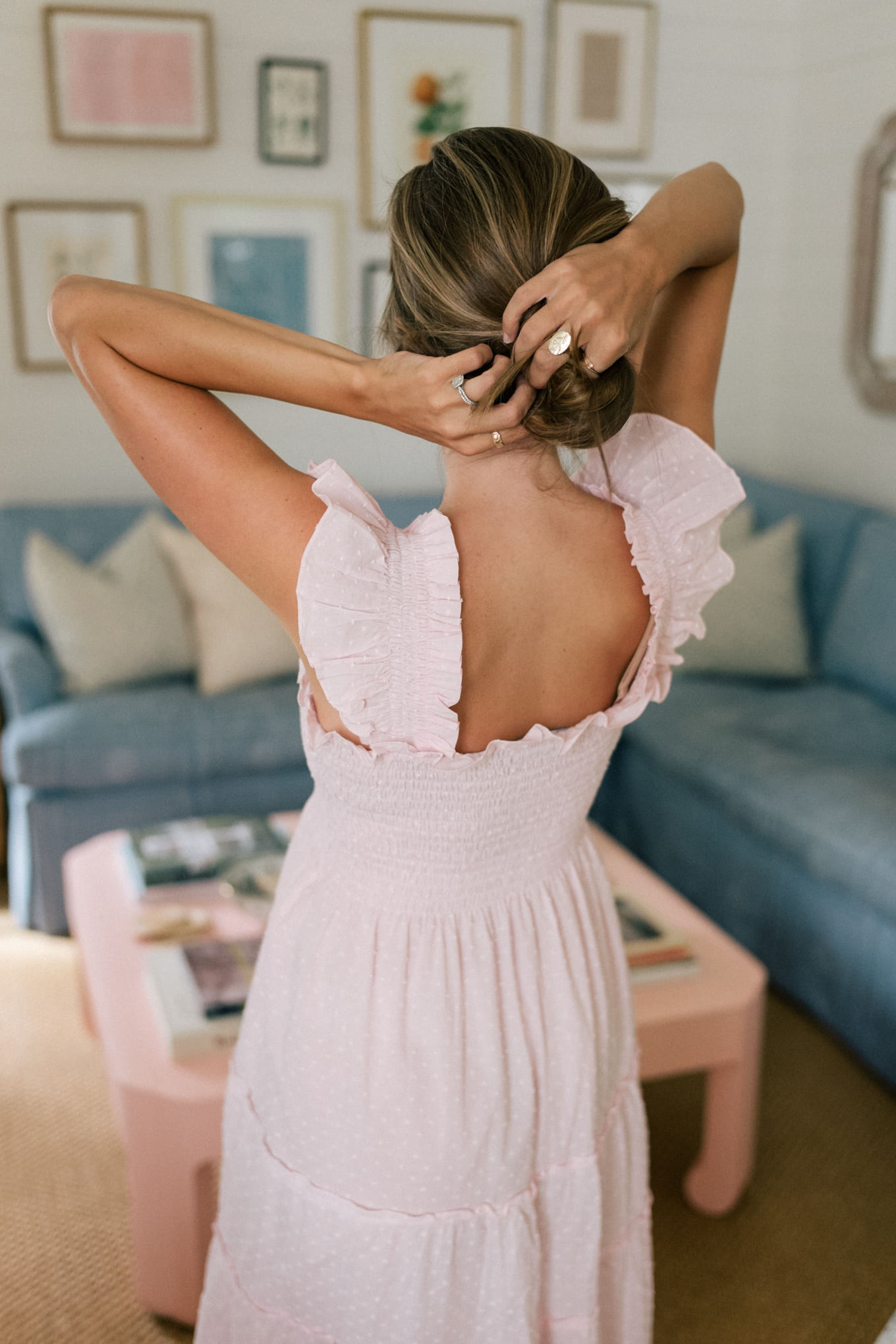 pink white nightgown