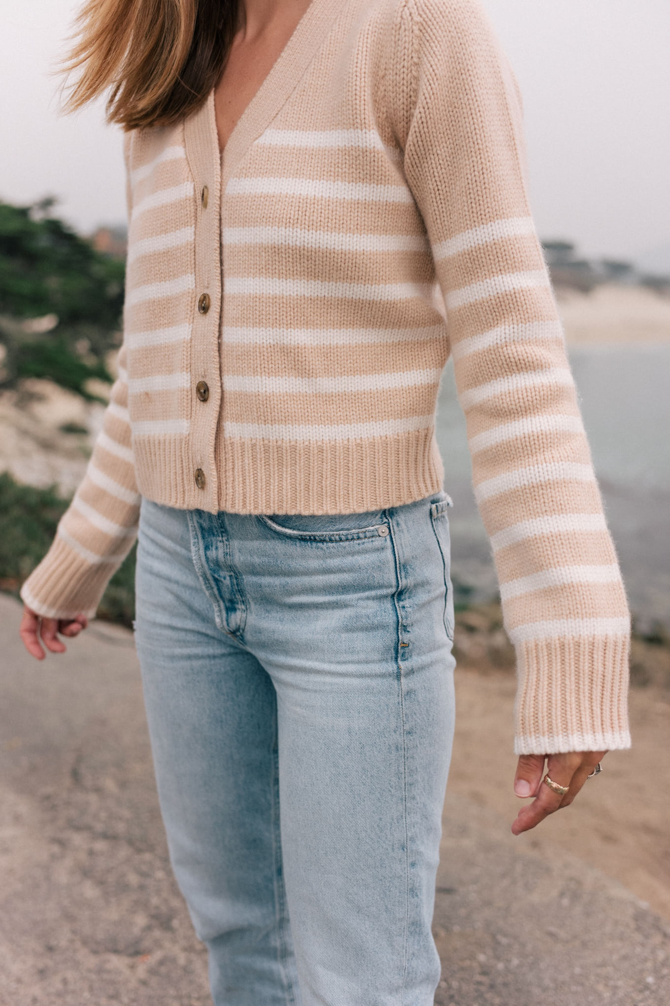 cream white striped cardigan light denim