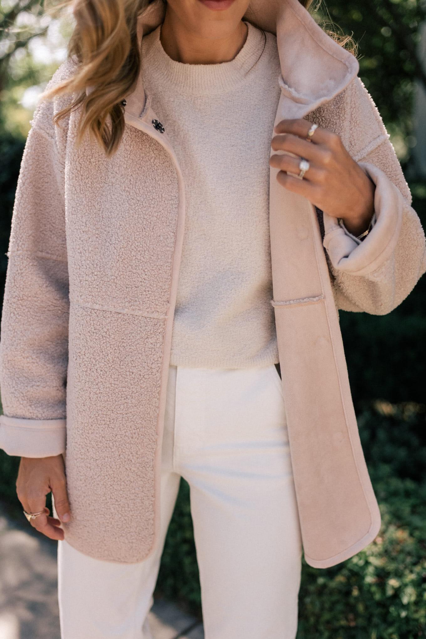 cream sherpa jacket white denim
