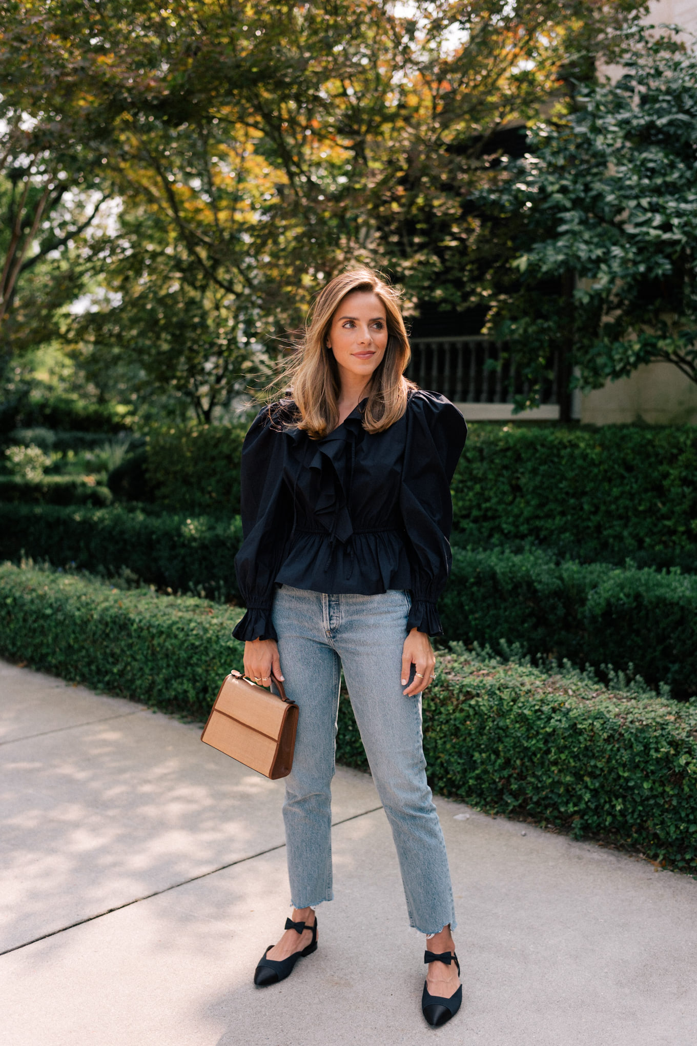 black blouse light denim