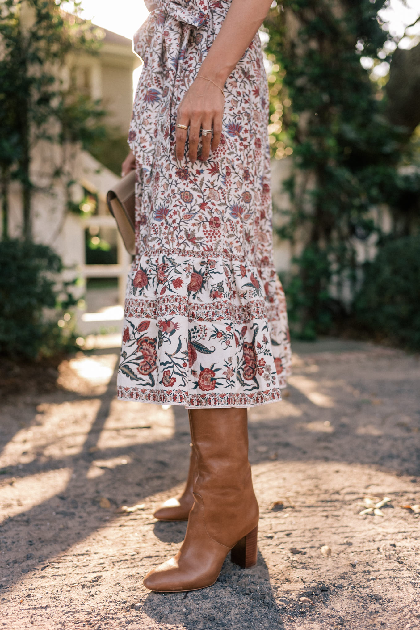 floral dress leather boots