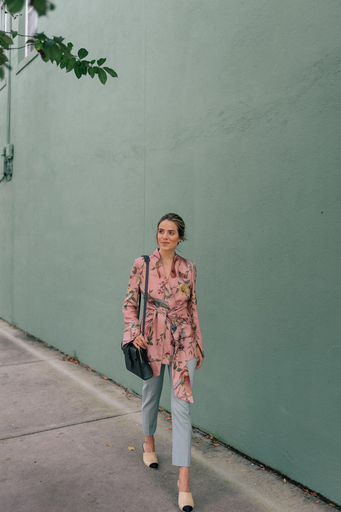 pink floral blazer green bag