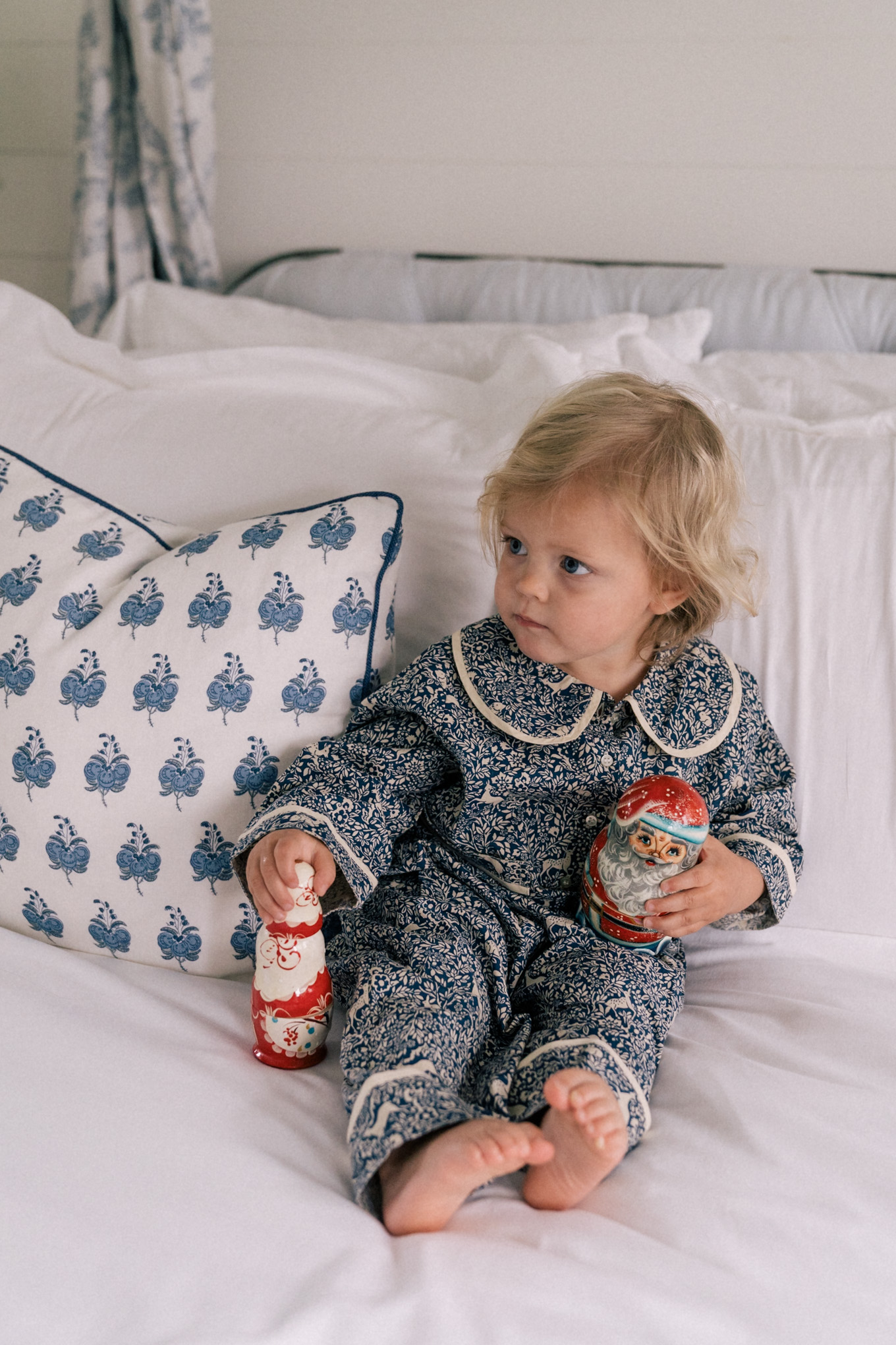 blue white matching pajama set