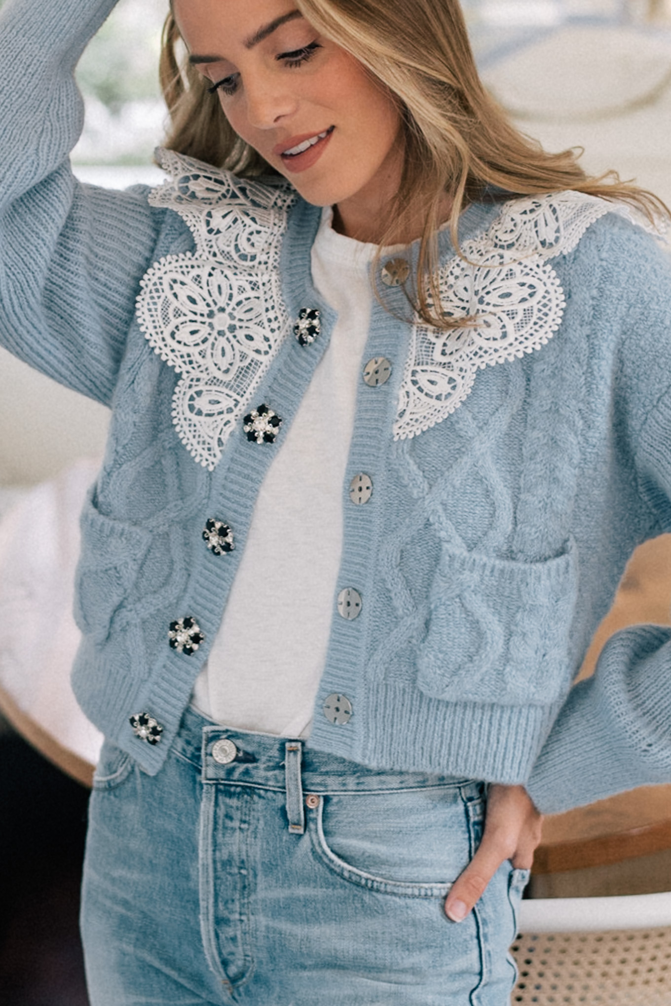 blue cardigan white lace collar
