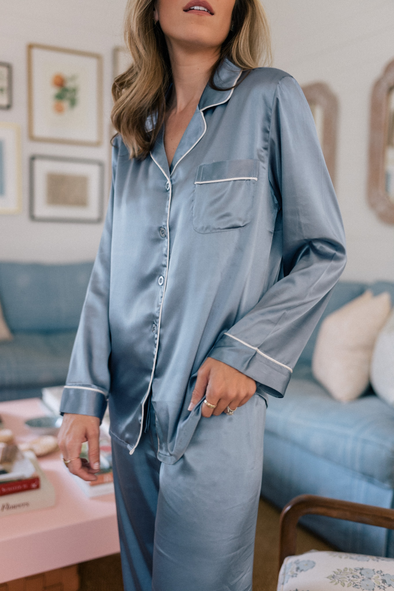 blue silk pajamas