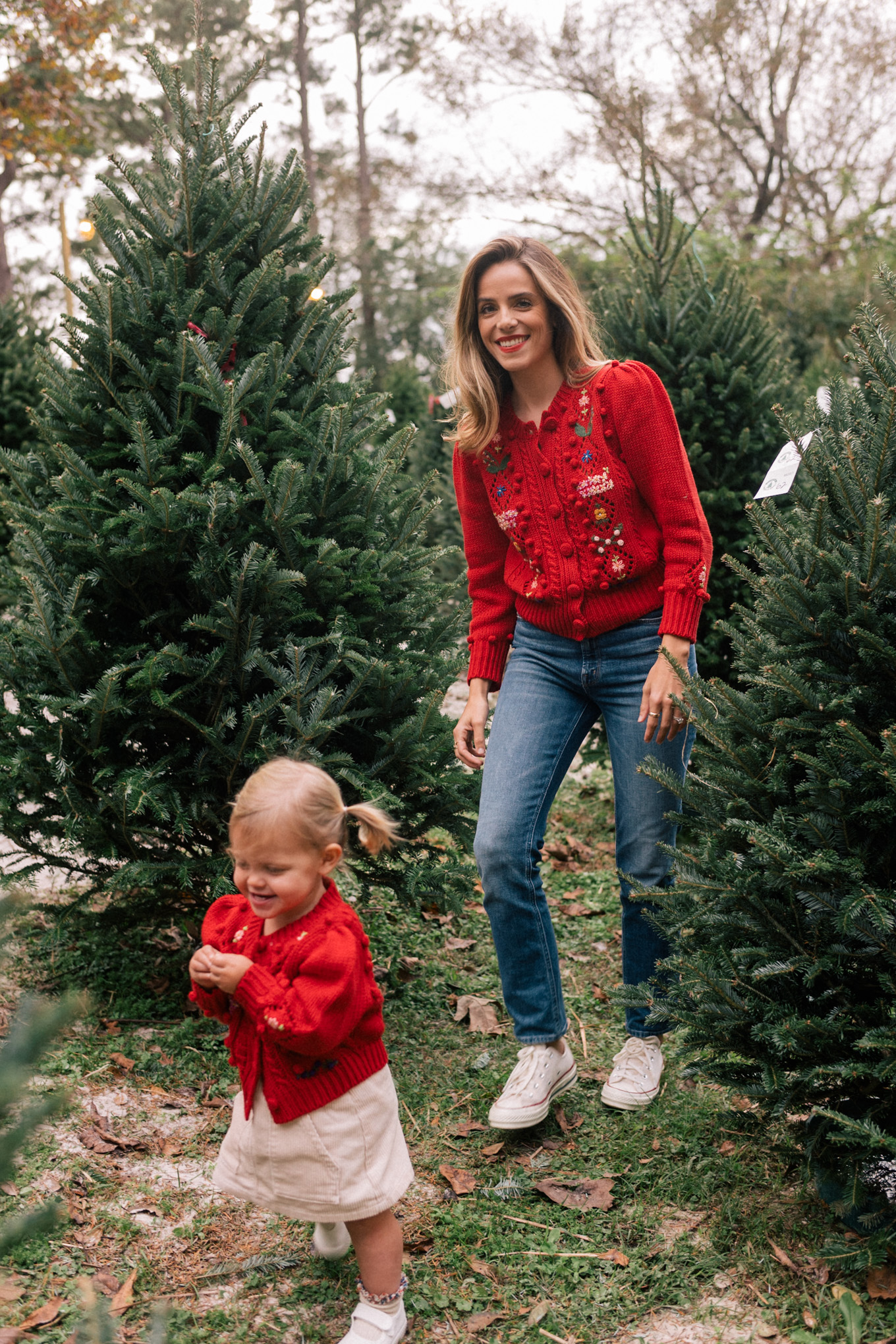 red matching holiday sweaters