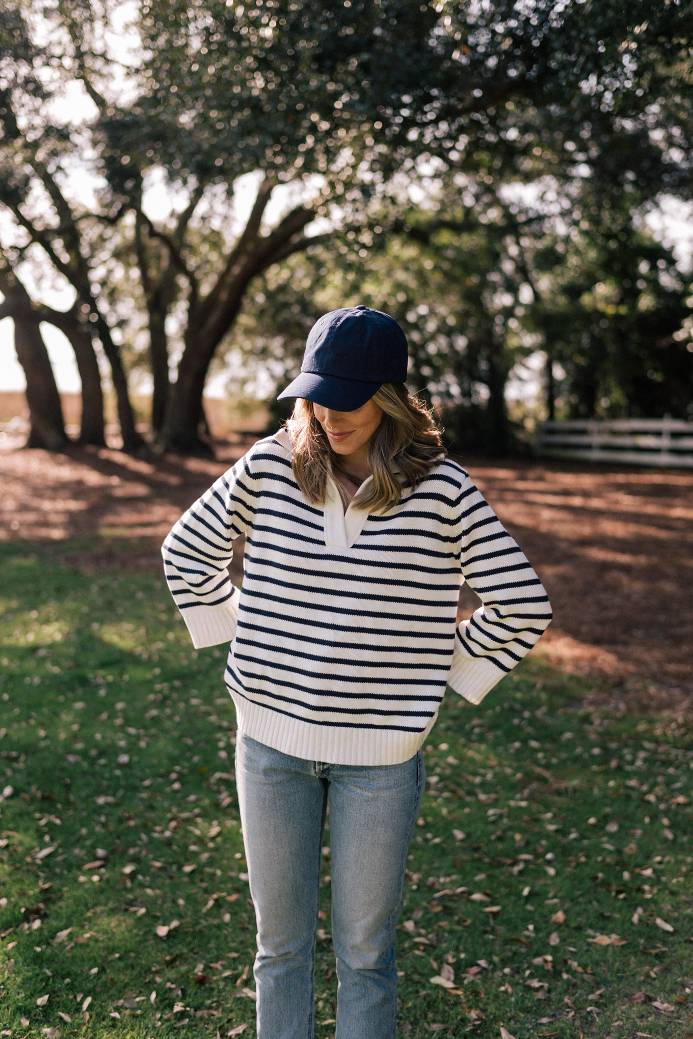 blue hat blue striped pullover