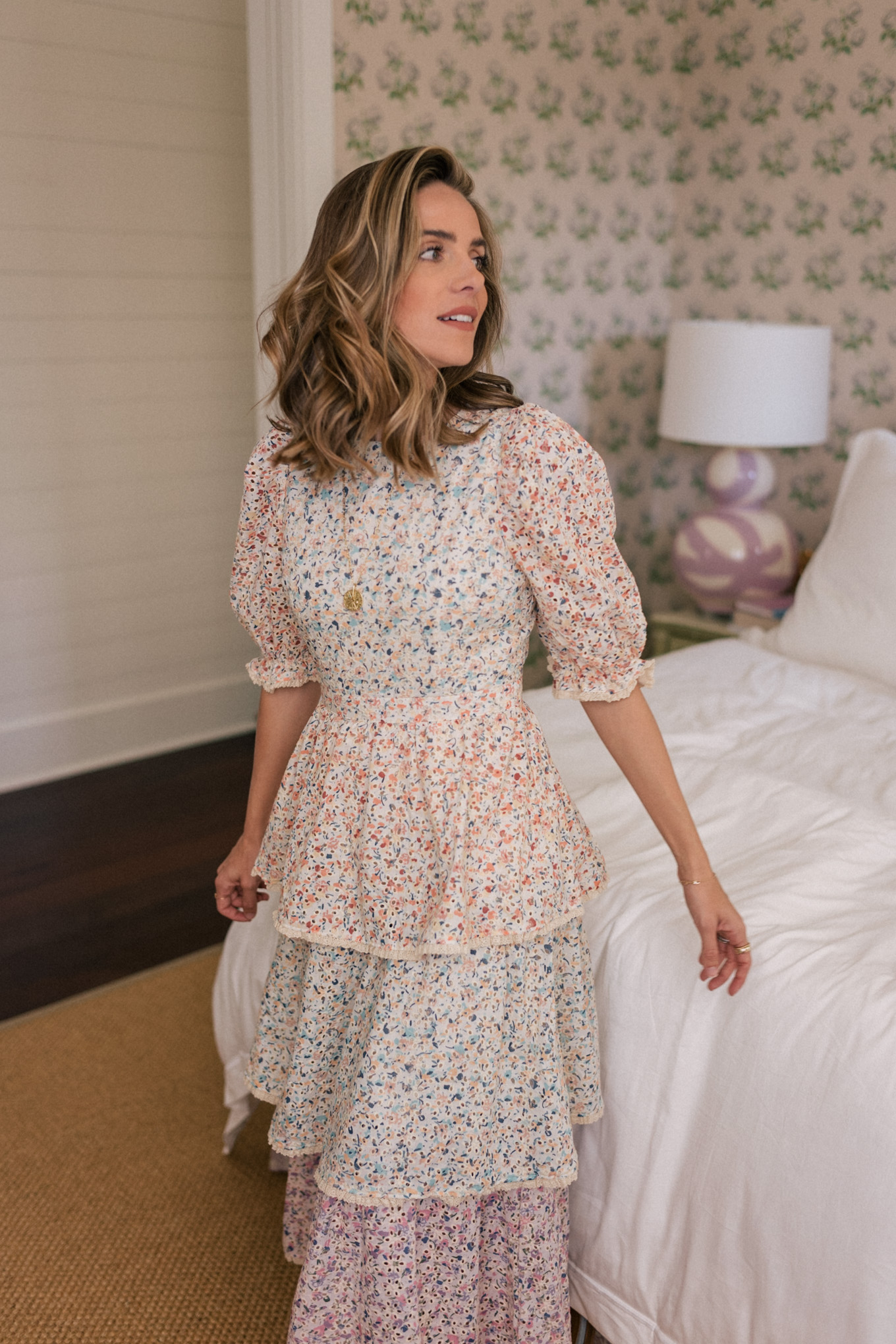 multi colored floral tiered dress