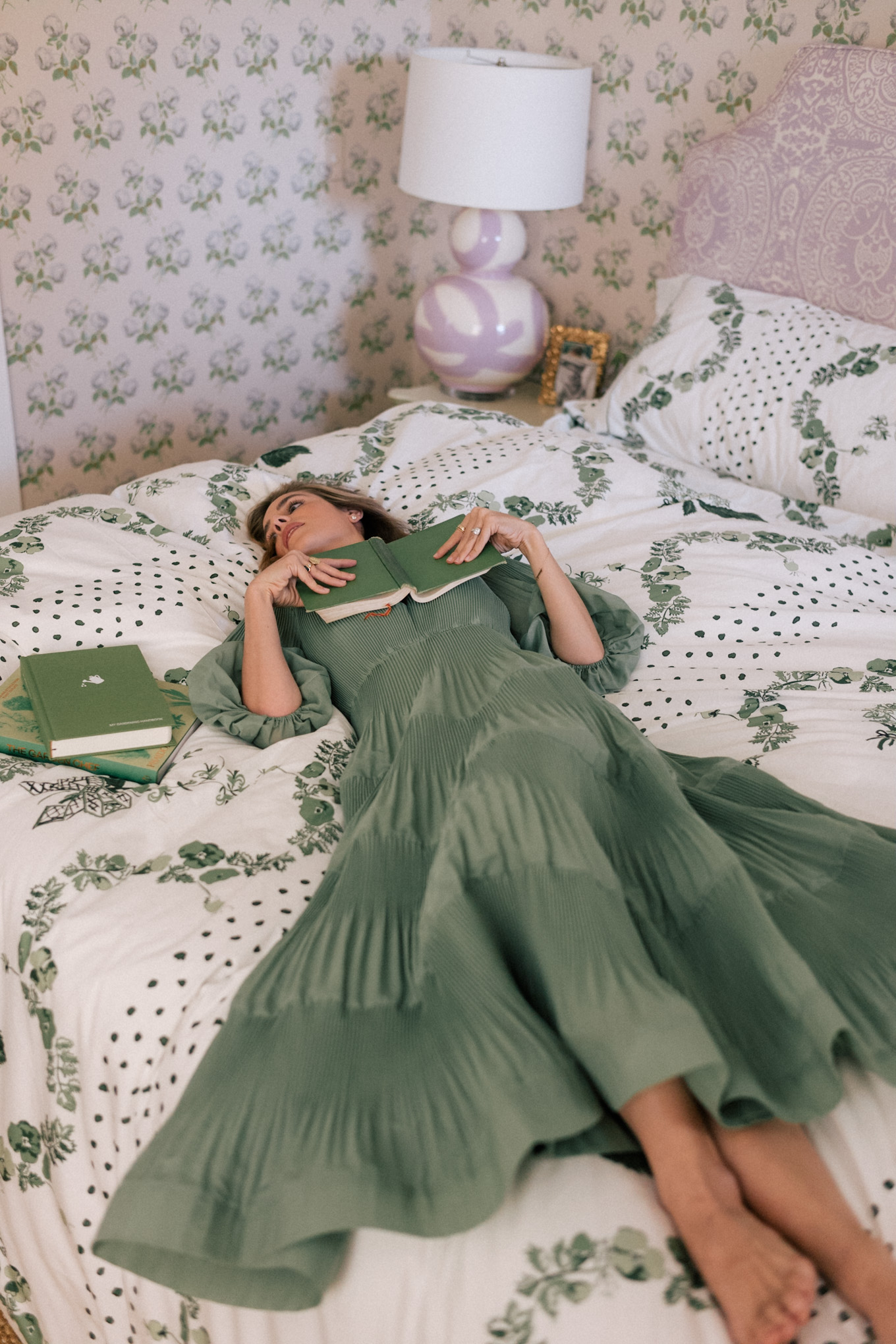 green tiered quarter sleeve dress