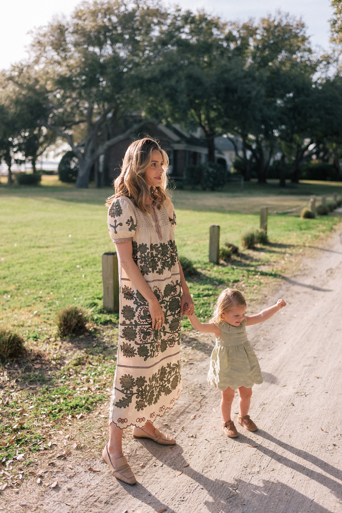 sage green tan embroidered dress