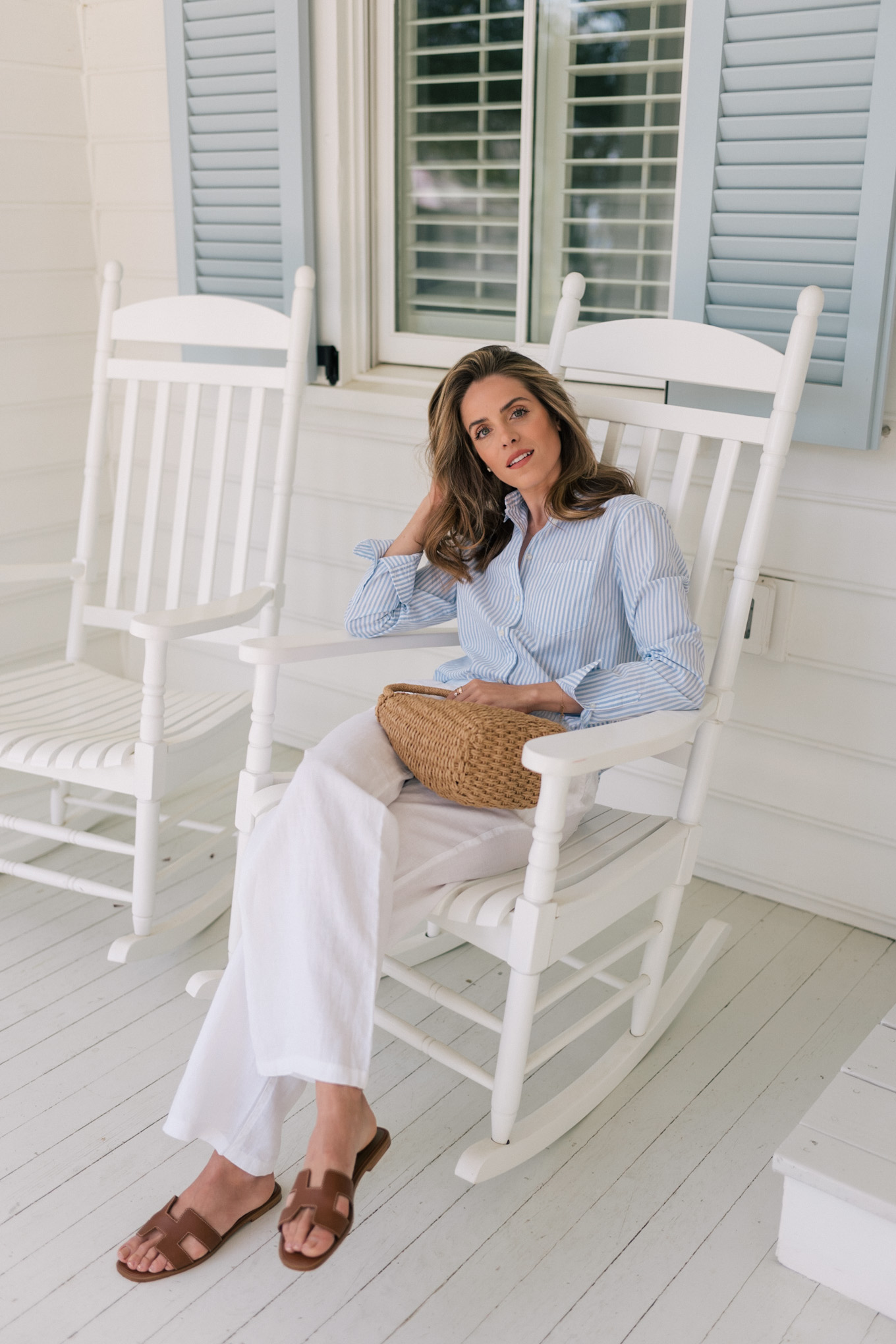 blue white stripe shirt white casual pants