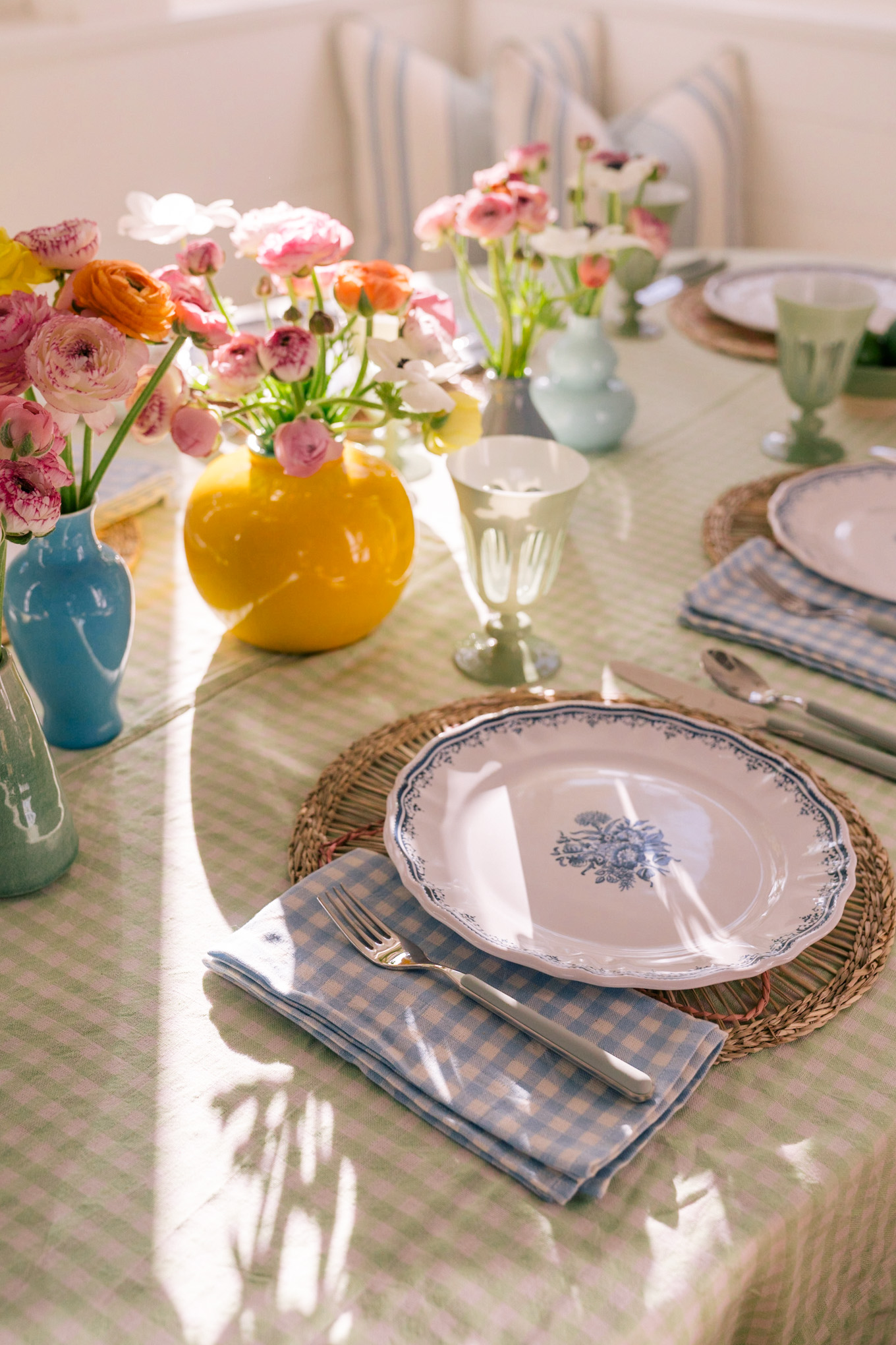 colorful spring easter tablescape