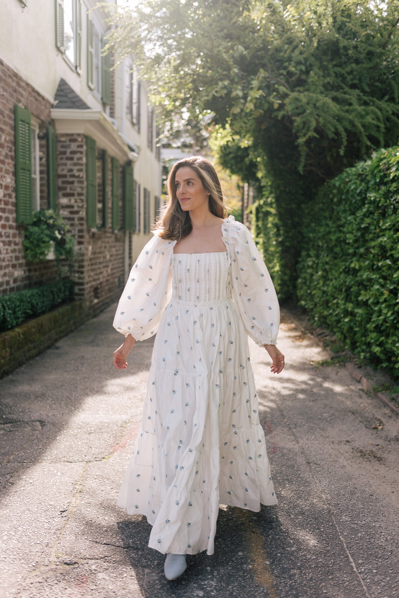 white floral embroidered cotton maxi dress