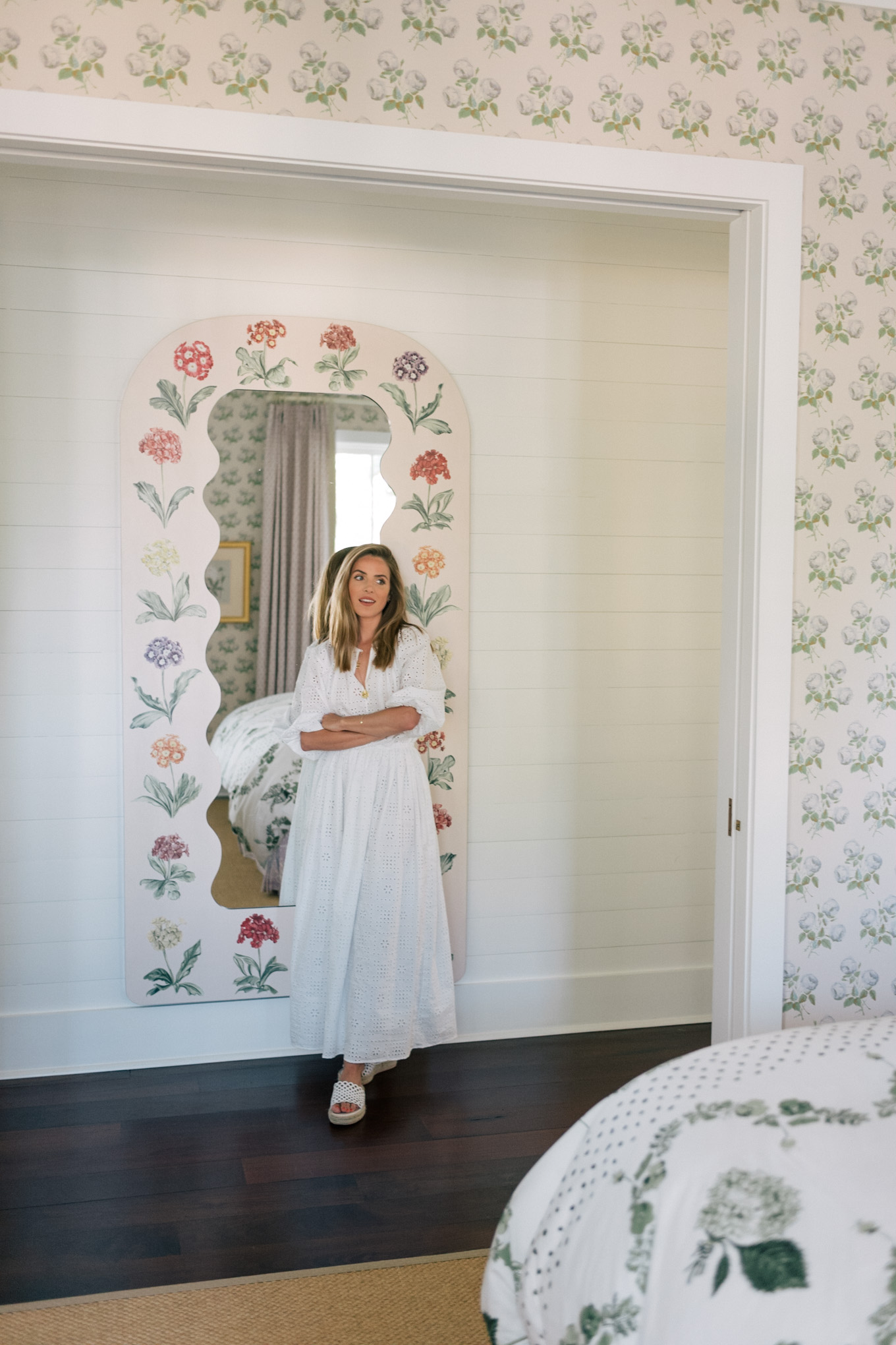 white eyelet dress floral painted mirror