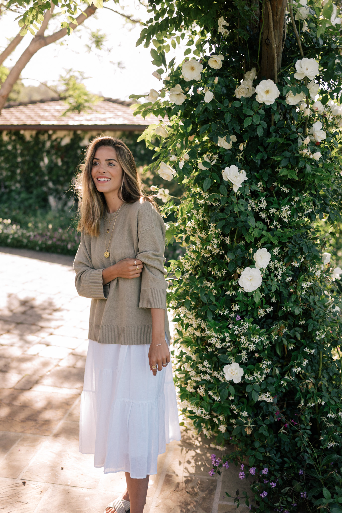 olive pullover sweater white dress