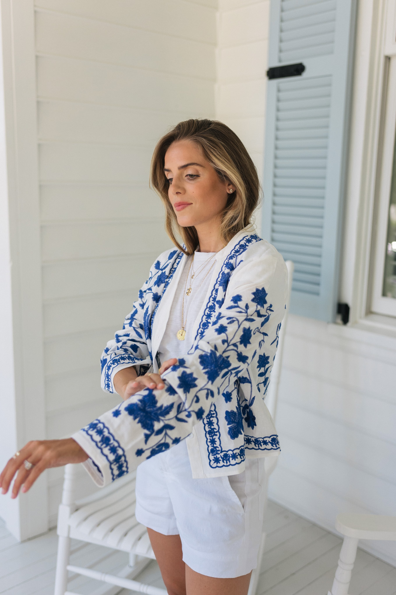 blue white embroidered button down