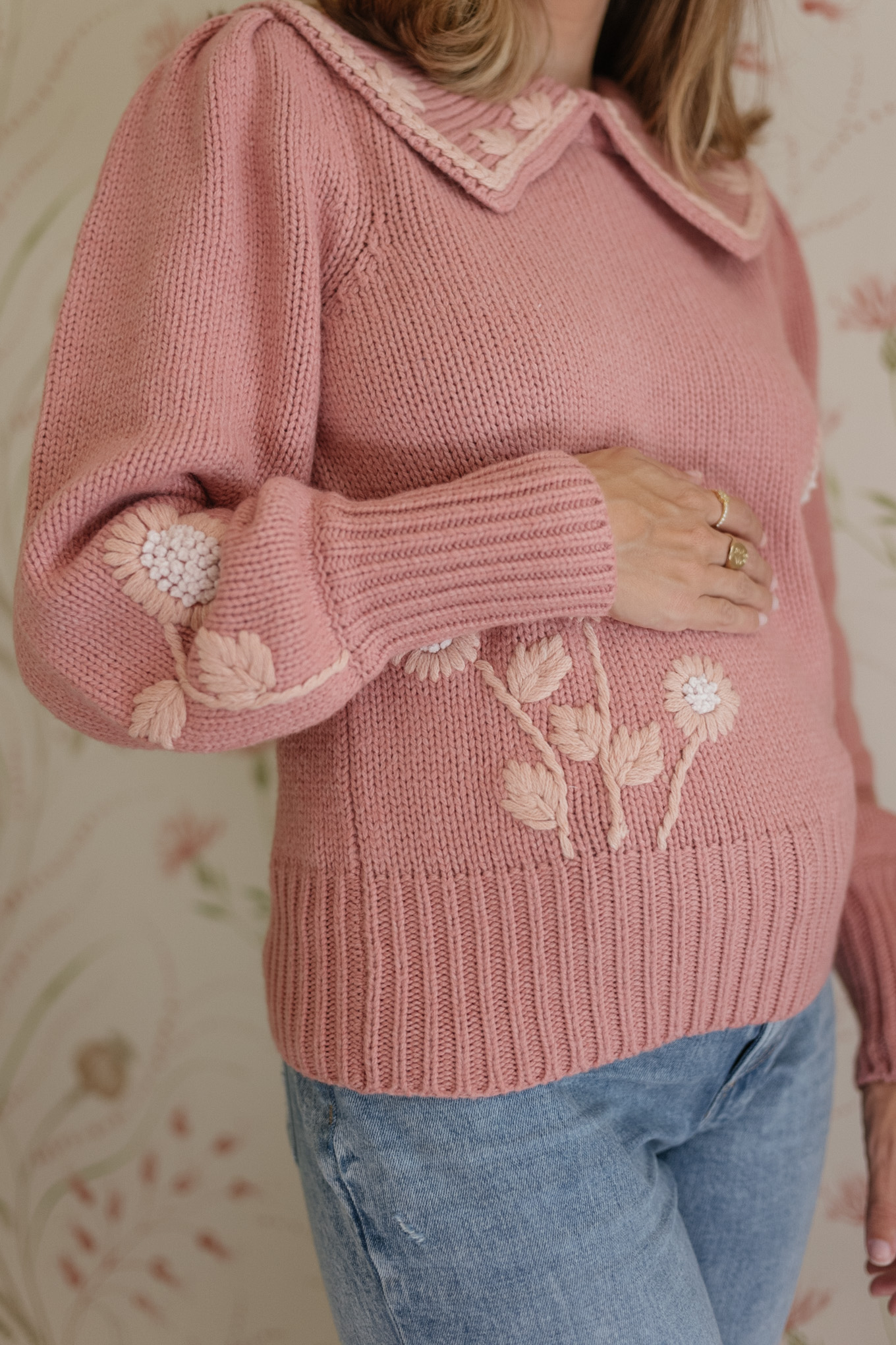 pink collared embroidered sweater