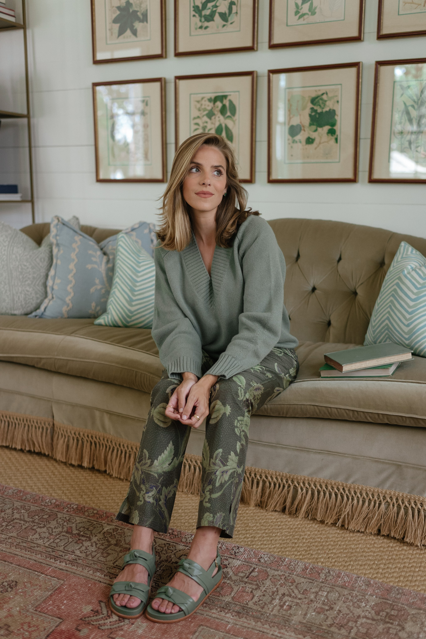 green cashmere sweater green patterned silk pants