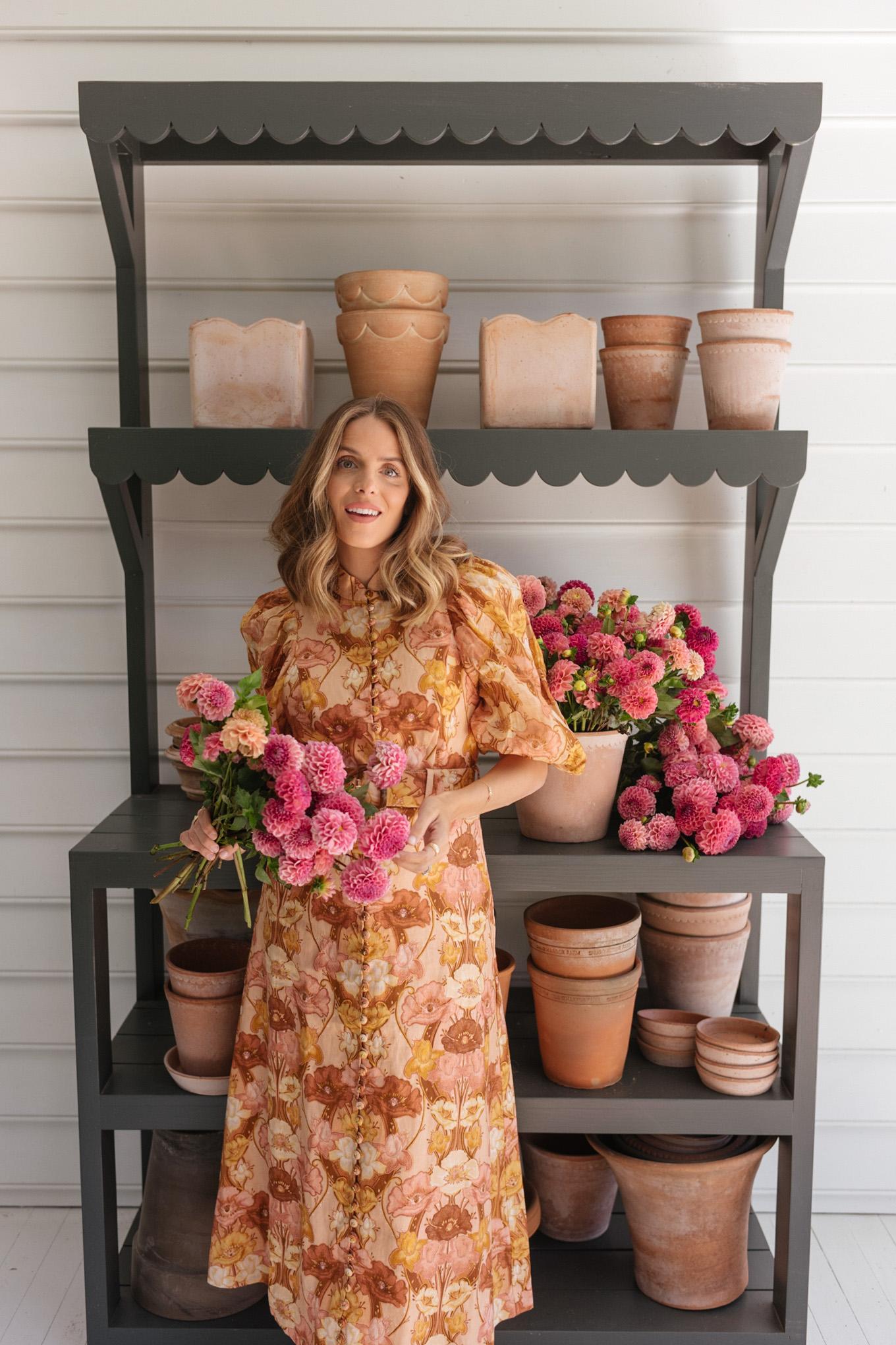 warm tones linen puff sleeved floral dress